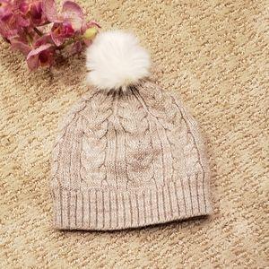 White House Black Market Hat Knit Pom Pom Puffball